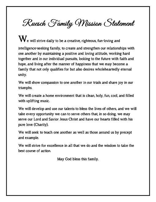 manifesto Ruesch Family Mission Statemen