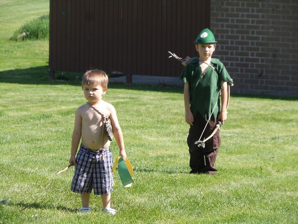 Kids playing Robin Hood