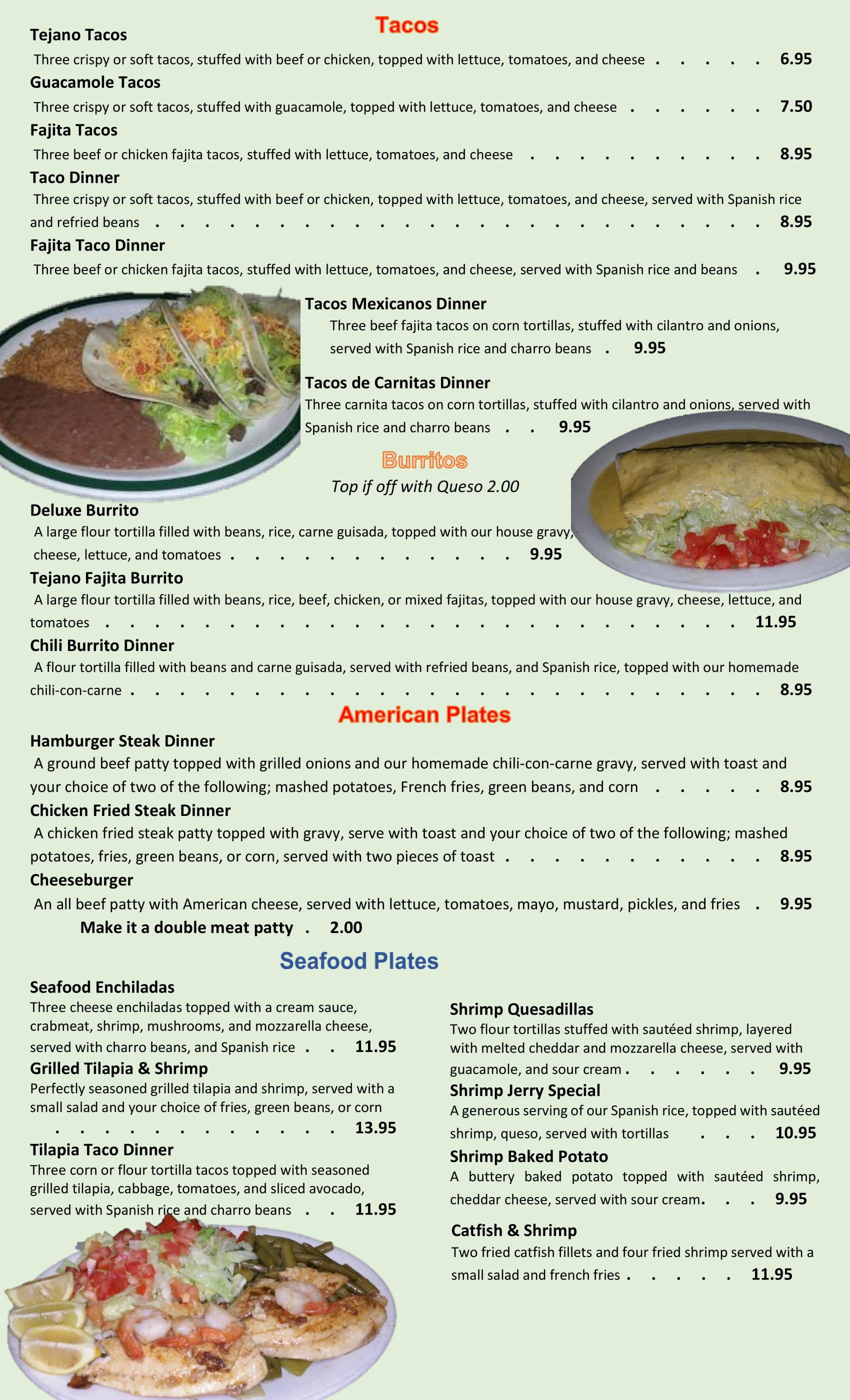 Price Change on Restaurant Menu June 201