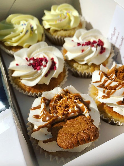 Biscoff, Lemon Drizzle, Berries & Cream Cupcakes