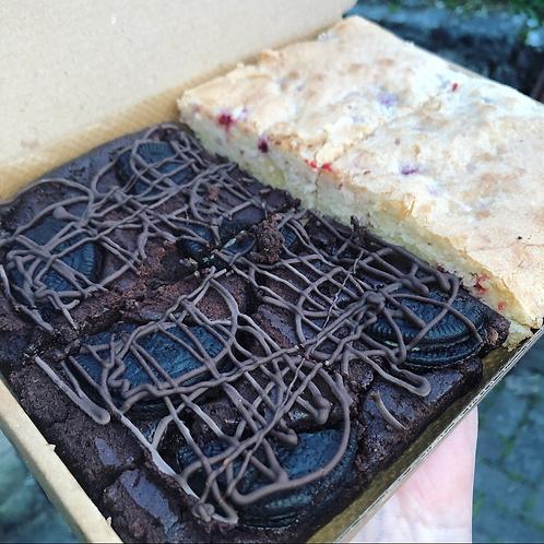 Mixed Vegan Brownie & Blondie Box (2 slices of each)