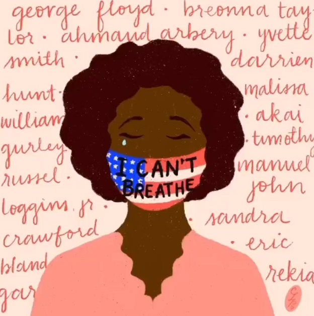 Black woman crying wearing an american flag face mask that says I can't breathe with the names of victims of police brutality behind her