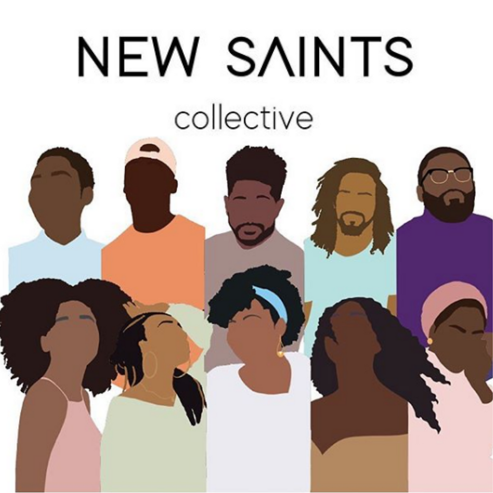 New Saints Collective logo with minimalistic designs of Black men and women