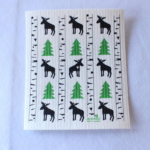 Moose and Pine Tree Swedish Dishcloth