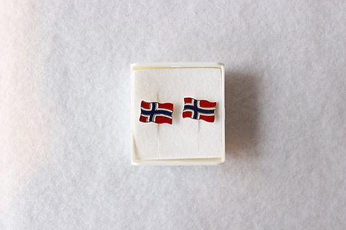 Norwegian Flag Pendant Earrings