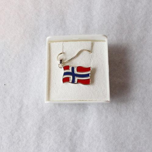 Norwegian Flag Pendant Necklace