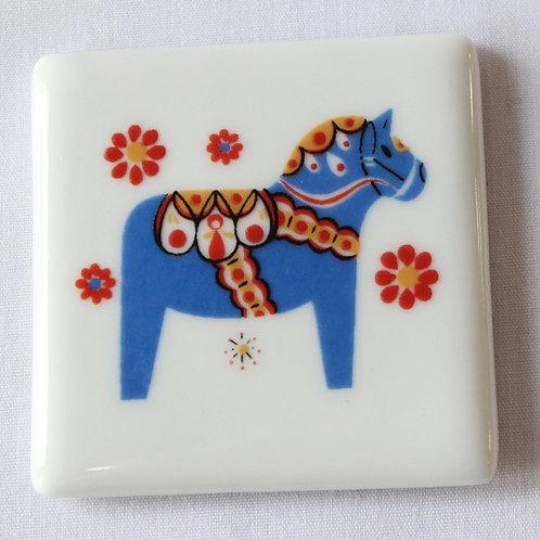 Blue Dala Horse Ceramic Magnet