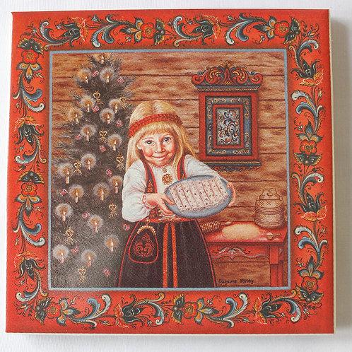 Lefse Girl Art Tile