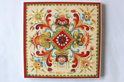 Os Rosemaling Art Tile 2