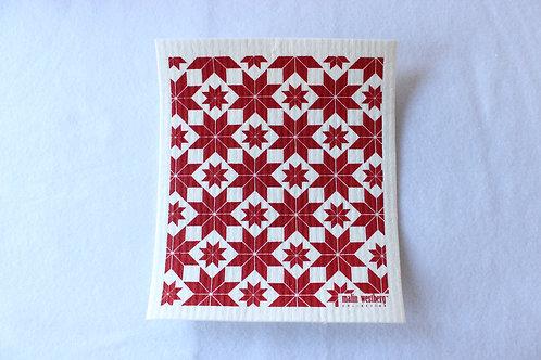 Red Scandinavian Star Swedish Dishcloth