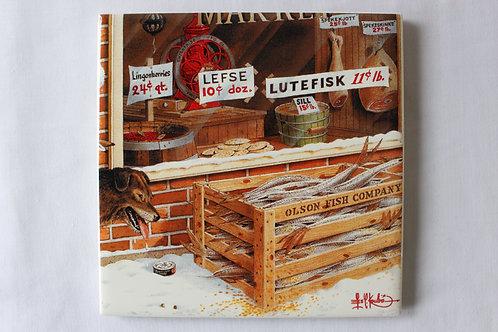 Lefse Stamp Print Cropped Art  Tile