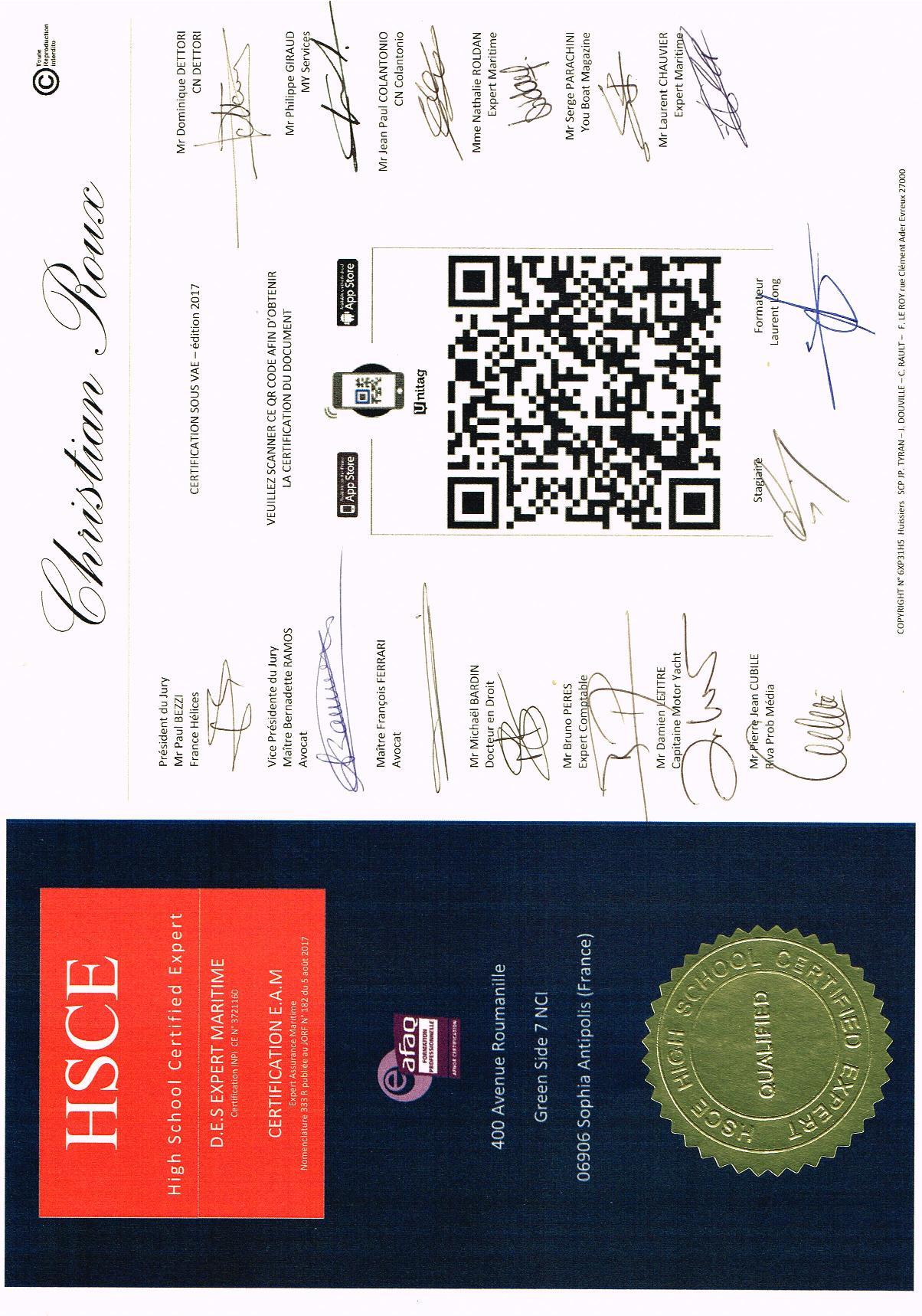 Certification E.A.M.