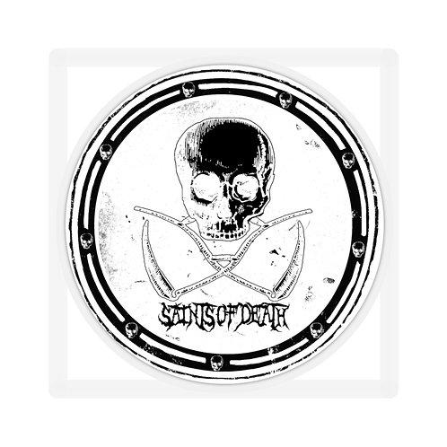 """Saints of Death """"Crest Logo"""" Sticker (White)"""