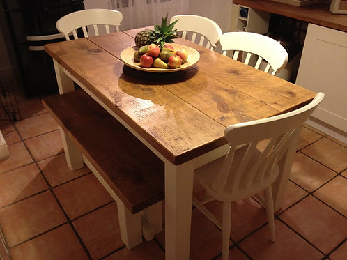 Rustic Table 4ft 6ins Painted Base Cream