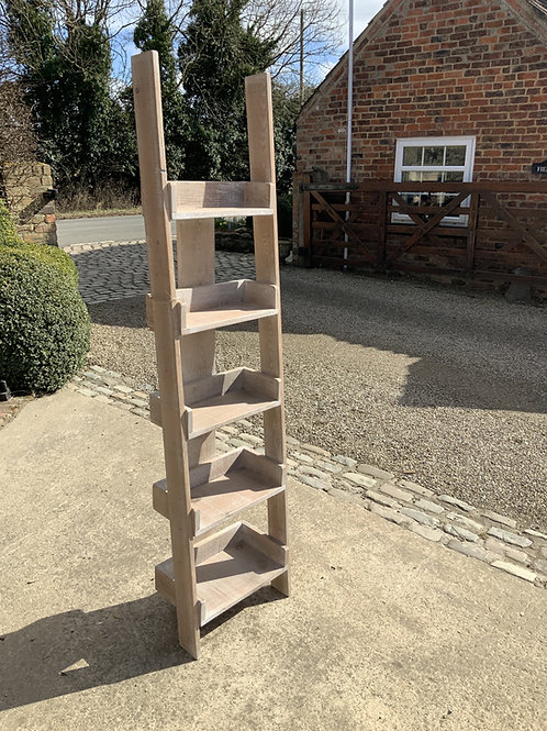 Washed Rustic Ladder Bookshelves
