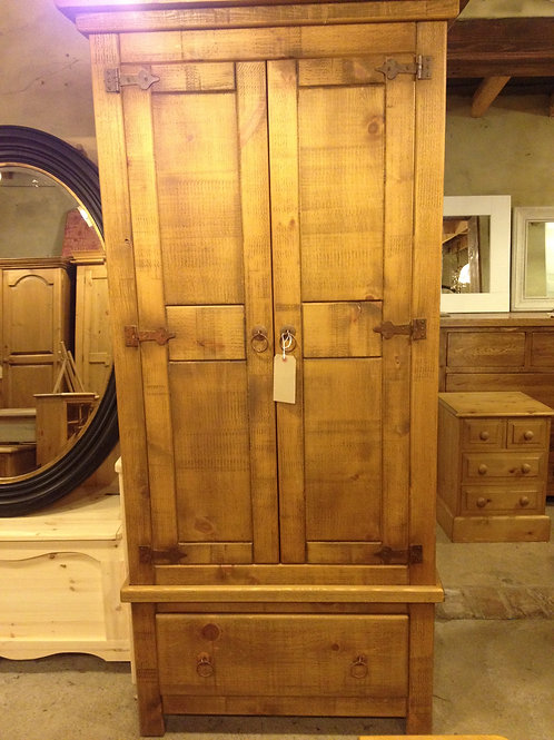 Rustic Pine Double Wardrobe 4ft wide