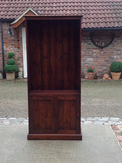 Pine Bookcase Polished Antique Mahogany