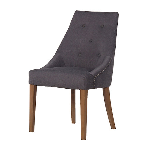 Grey Dining Chair with Leather Handle