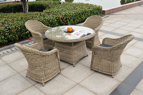 Hamilton All Weather Rattan Table and Four Chairs + Cushion