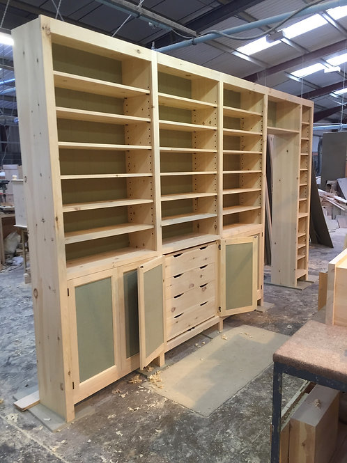Bookcase to be fitted on site after painting