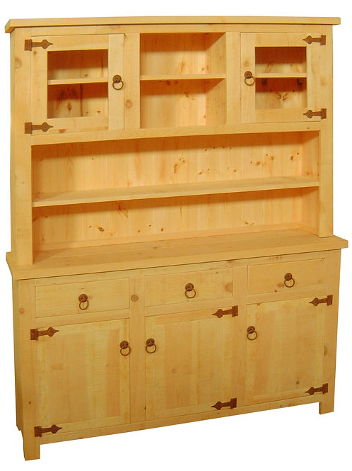 5ft Half Glazed Dresser Rustic Pine