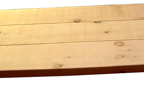 Planked table top with breadboard ends