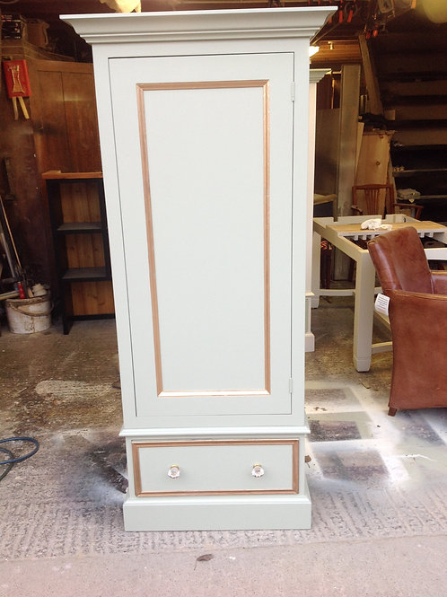 Single Wardrobe in Off White with Gold highlights