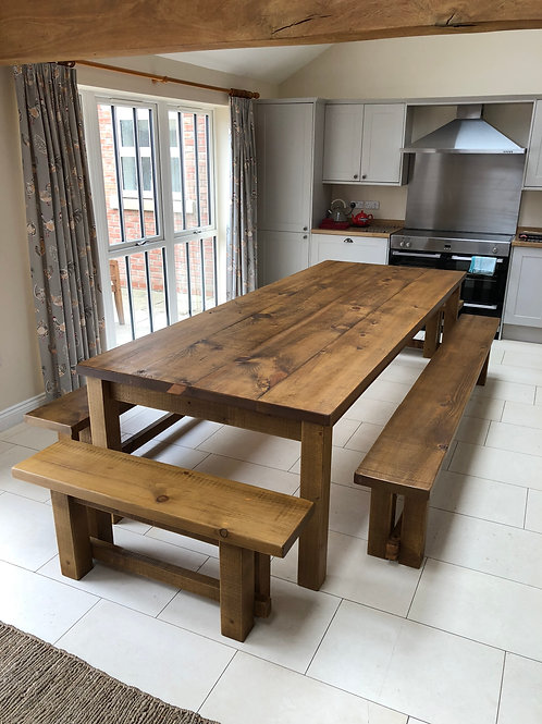 Rustic 10ft x 4ft Table Plus 4 Benches