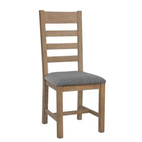 Hovingham Oak Slat back Chair Fabric Grey