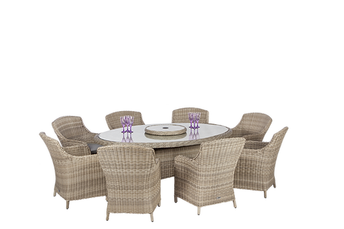 Wentworth 2.4cm Table with 8 Comfort Chairs inc Cushions Seat and Back