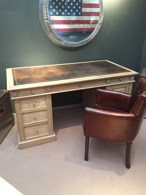 Small Villeneuve Weathered Oak Partner's Desk