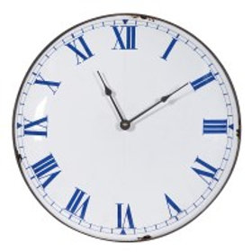 Distressed White and Blue Wall Clock