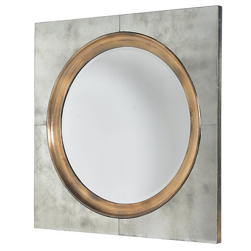Round Mirror in Square Frame 107mm x 370mm