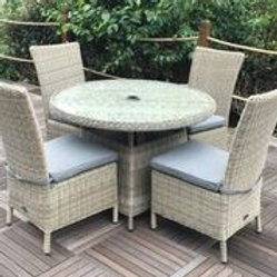Saychelles 1.1m Table plus 4 Chairs and Cushions. Single Chair Price is £120