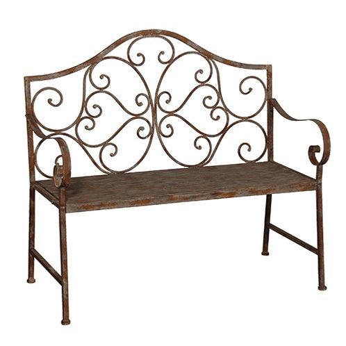Distressed Iron Bench