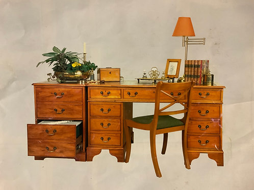Antique Yew Desk and Filing Cabinet  POA