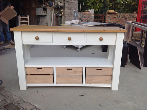 Large Console Table with apple boxes.