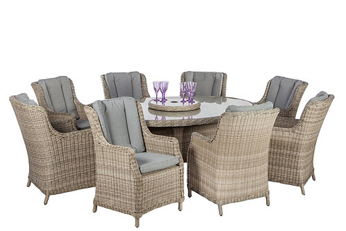Warwick Oval Table 2.4 m x1.2m and 8 Comfort Chairs Cushion Included
