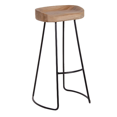 Metal and oak Stool