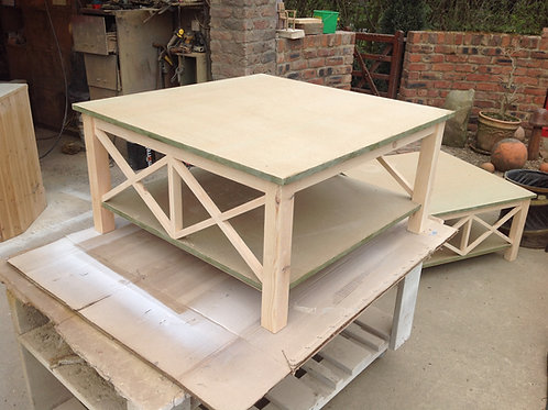 Large cross stick lamp table/ coffee table