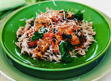 Buckwheat Pasta with MEET® Strips, Porcini and Cavolo Nero Ragù