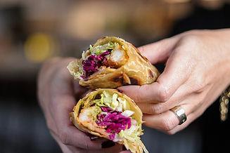 Indian chicken flat bread wrap