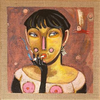 kvinde,akryl på lærred,hørlærred, portræt