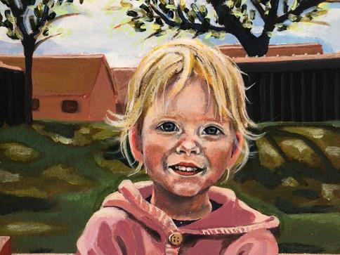 """""""Glimpse of Love"""" lokdown projekt.  2020,Christina Elvira Godsks værker, kan ofte genkendes på hendes menneskeliggjorte skabninger og kontroversielle individer. Med en bitter sød og skæv drejning, skildre hun eksistentialistiske spørgsmål om kærlighed, samfund, menneskelige relationer og splittelse. Paradokser i vores samfund og i hende selv bliver skildret så de på en og samme tid fremstår introverte, blufærdige, for så at pludselig at være pågående opmærksomhedskrævende, med så meget på hjertet.   Hendes billedsprog er særegent men med hendes optaget af farver, mønstre, og narrativer drager hun referencer til Street art, folklore, Graphics novelles og ekspressionisme. """"Jeg skaber i mellemrummet.  I mellemrummet mellem det indre og det ydre, mellem drøm og virkelighed, mellem sårbarhed og styrke. Alting handler om balance… alting har en mod pol!""""."""