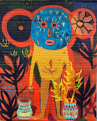 akrylmaleri, pap,eksotiskvæsen,nativeart,rawart