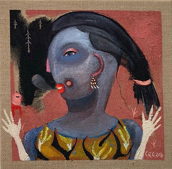 kvind,akrylmaleri,fabel,portræt