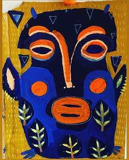 maske,maskekunst,nativeart,urbanart,rawart,akrylmaleri