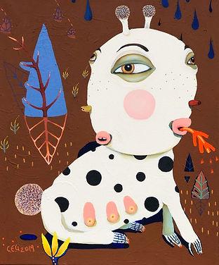 Dyr,væsen,harre,kanin, maleri,akrylmaleri