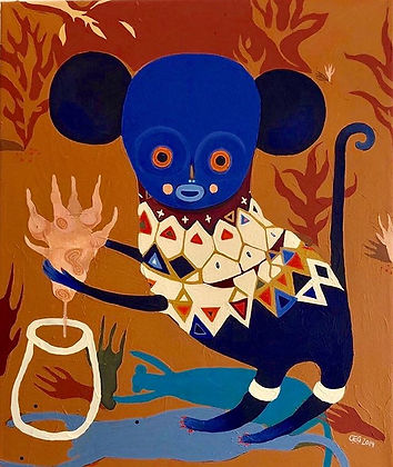 Abe,kunst,akrylmaleri,rawart,nativeart,monkeyart