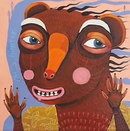 Hunter,bjørn,væsen, fabeldyr,akrylmaleri